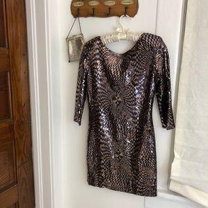 NWT AKIRA CHICAGO gold navy sequin short dress